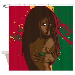 Rasta Girl Decorative Fabric Shower Curtain